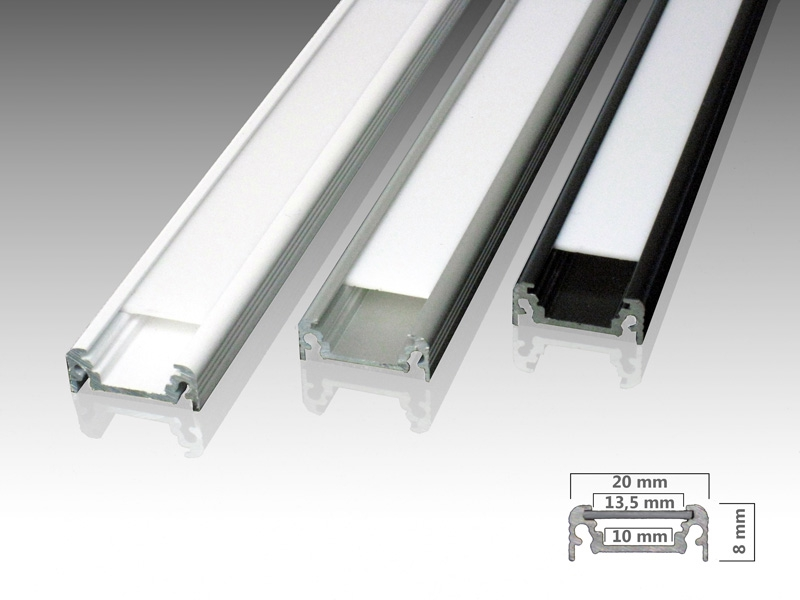 aluminiumprofil n aufputzprofil f r led streifen led. Black Bedroom Furniture Sets. Home Design Ideas