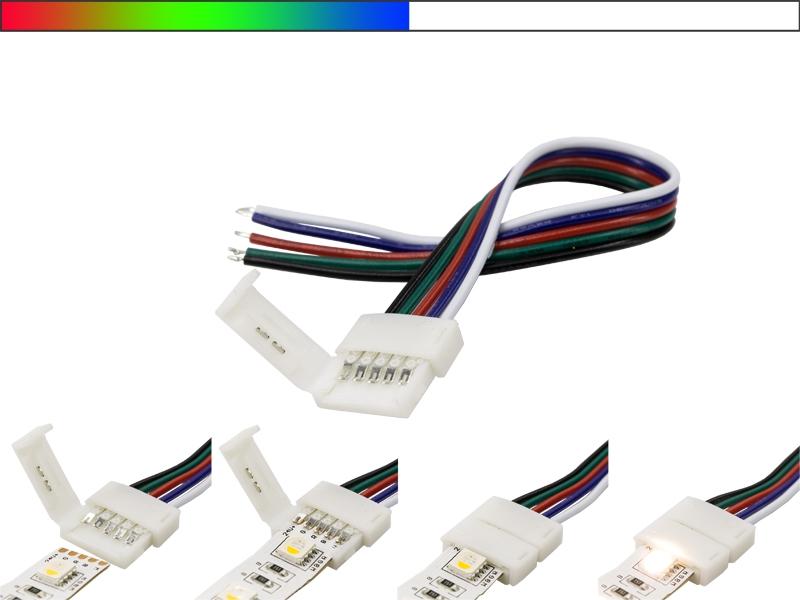 schnellverbinder mit zuleitung f r unsere rgbw led streifen led online led kaufen. Black Bedroom Furniture Sets. Home Design Ideas