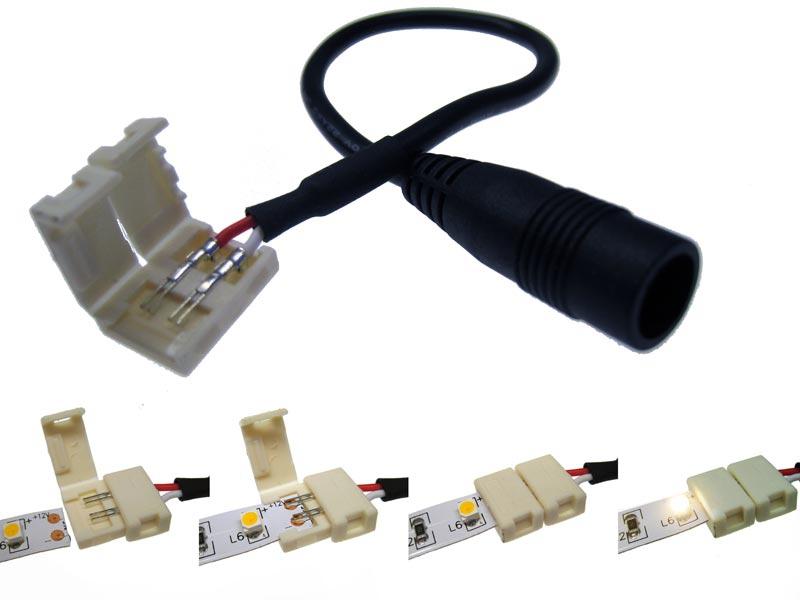 schnellverbinder f r 10mm led strips mit dc buchse led online led kaufen. Black Bedroom Furniture Sets. Home Design Ideas