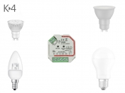 Funk K-4 230V AC TRIAC LED Dimmer mit Tasterfunktion